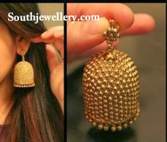 Gold Earrings latest jewelry designs - Page 9 of 20 - Indian Jewellery Designs Gold Jhumka Earrings, Indian Jewelry Earrings, Jewelry Design Earrings, Gold Earrings Designs, Gold Jewellery Design, Bridal Jewelry, Gold Jewelry, India Jewelry, Jhumka Designs