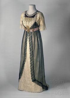 Evening dress, Marie Hájek, Prague, ca. 1910. Satin. Photo: Ondřej Kocourek, Gabriel Urbánek. Click through for huge photo.