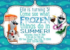 Like the wording of this for Evite...Frozen in Summer Birthday Invitation