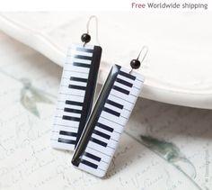 Piano key earrings