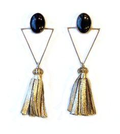 Art Deco Onyx and Sterling Leather Tassel, Tassel Necklace, Art Decor, Tassels, Jewelry Design, Drop Earrings, Antiques, Inspiration, Jewellery
