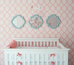 Painters tape + me can give this amazing look on an accent wall. #DIY #nursery #decor
