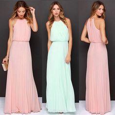 Summer Womens Chiffon Sleeveless Evening Party Ball Gown Long Maxi Beach Dress #Fioday #Maxi #Casual