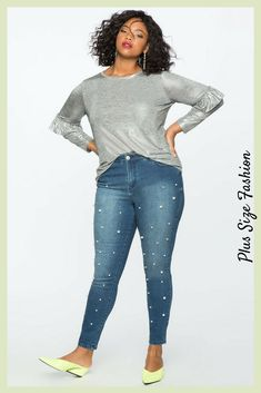 Make casual Fridays a little less casual with these cool pearl jeans. I love the combination with a light grey cashmere sweater #plussize #ad #denim