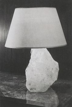 Table Lamp Mounted on a Quartz Base, Parchment Shade, ca 1925 - Jean-Michel Frank