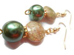 Autumn Jasper Earrings, Green Pearl Earrings, Copper Earrings, Ecofriendly, Natural, Hunter Green Earrings, Boho, Bohemian, Beaded Earrings