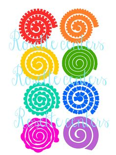 This listing is for 8 rosette paper flower templates. Hand cut or use with a cutting machine. Roll these pretties up for an easy DIY realistic paper flower that can be used in bouquets, decor, favors etc.. ** You must have software and knowledge that allows you to open and use this file if planning to use with a cutting machine. WHAT YOU WILL RECEIVE ::::::::::::::::::::::::::::::::::::: 1 ZIP file containing the following- 1 SVG with all the rosettes, 1 PNG of each rosette, 1 PDF petal…
