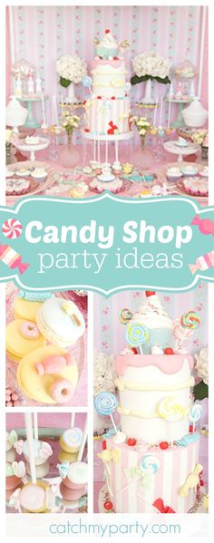 Don't miss this gorgeous pastel Candy Shop baptism/Birthday party! The candy decorated birthday cake is fabulous!!  See more party ideas and share yours at CatchMyParty.com