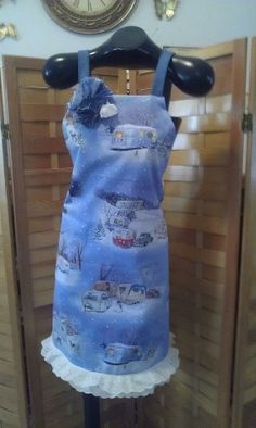 Vintage snowy camper vacation , apron  made by Fried Green Aprons