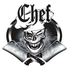 Winking Chef Skull and Crossed Cleavers 7 - Available on t-shirts, hoodies, phone cases, posters, and more, at RedBubble.