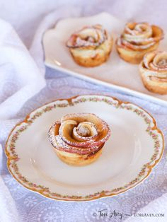 Apple Date Rose Tarts - Beautiful tarts with an exotic filling of date, rosewater and cardamom. Surprisingly easy to make! #vegan via @toriavey