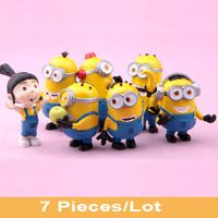 7 PCS Minions Toys with Agnes Despicable Me 2 Action Figures 5-6cm Minion Model Doll Xmas Christmas Kids Gifts Free Tracking