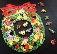 A personal favorite from my Etsy shop https://www.etsy.com/listing/487402167/teddy-bears-christmas-wreath-puzzle
