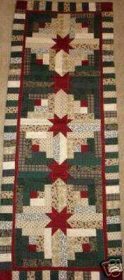 Instructions only LOG CABIN STAR Christmas table runner pattern December Year one- pieced quilted Patchwork Log Cabin, Patchwork Quilt, Log Cabin Quilt Pattern, Log Cabin Quilts, Log Cabins, Table Runner And Placemats, Table Runner Pattern, Quilted Table Runners, Thanksgiving Table Runner