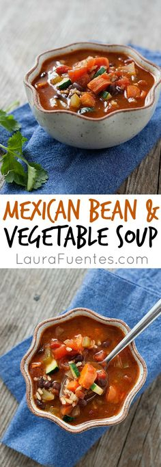 This delicious Mexican Bean and Vegetable Soup makes a great midweek meal. The flavors are smoky and so delicious!