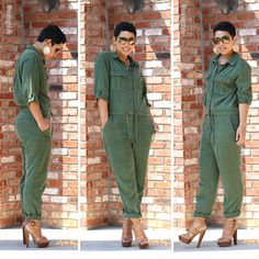 Topshop Army Green Jumpsuit - Mimi G Style