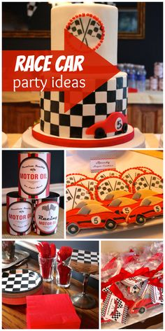 A Race Car birthday party with checkered flag decorations and an awesome racetrack game! See more party ideas at CatchMyParty.com!