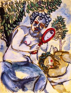 'The Mirror' - Marc Chagall - (circa 1911-1912)                                                                                                                                                                                 More