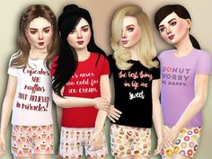 The Sims Resource: Donut Worry Pajama Set by Simlark • Sims 4 Downloads