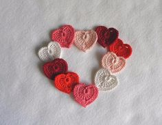 Set of 10 crochet hearts  Applique hearts  Multicolored heart - crochet hearts - decorative motif 0.98in