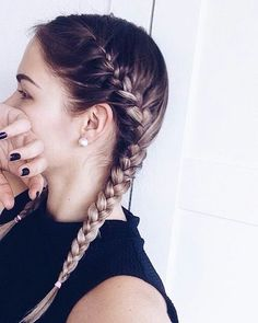 Two braids hairdo for long hair. Elegant and easy to to hairstyle.