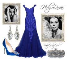 """""""Hedy Lamarr"""" by trulygirlygirl ❤ liked on Polyvore featuring Marchesa, Manolo Blahnik and Fantasy Jewelry Box"""