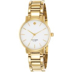 kate spade new york Watch, Women's Gramercy Gold-Tone Bracelet 34mm... ($225) ❤ liked on Polyvore featuring jewelry, watches, no color, gold-tone watches, kate spade jewelry, gold tone jewelry, kate spade and colored gold jewelry