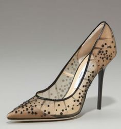 sheer jeweled pumps with toe cap and back counter in leather underneath