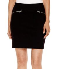 a.n.a Zipper Ponte Knit Skirt ($20) ❤ liked on Polyvore