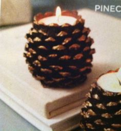 Try with real hallowed out pinecones and battery votives