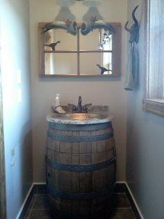 Bathroom Decorating Ideas My Little Bathroom We Took A Wine - Wine barrel bathroom vanity for bathroom decor ideas