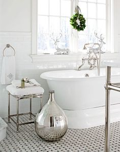 Holiday Bath - silver deer & jingle belled towel accent ... Cozy Connecticut Holiday Home