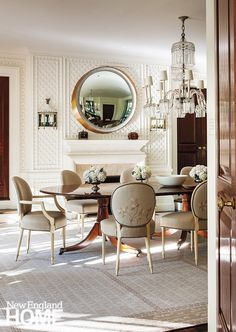 Early morning light in Southampton.my favorite time of the day. Walls detailed in treillage plaster, mirror by Thomas Pheasant STUDIO. Dining Room Design, Dining Room Furniture, Furniture Design, Dining Chairs, Classic Interior, Luxury Interior Design, Traditional Interior, Interior Designing, Classic Dining Room