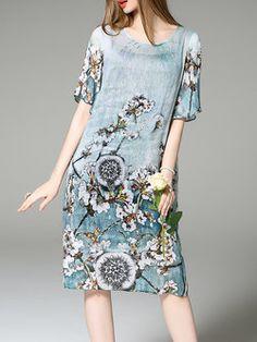 Multicolor Casual Floral Two Piece Silk Midi Dress