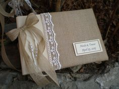Personalized Rustic wedding guest book- burlap guest book-bridal wish book - burlap cotton and lace