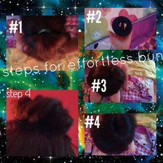 Steps to an easy effortless bun