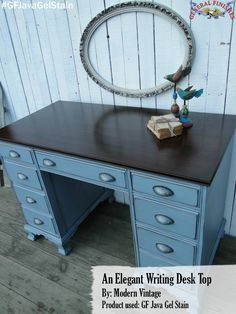 GF's Java Gel Stain gave the top of this desk a sleek new look.  This makeover was done by Modern Vintage, https://www.facebook.com/TRWModernVintage?fref=ts.  Check out their facebook page to see more beautiful furniture transformations! #generalfinishes #javagel #getthelook