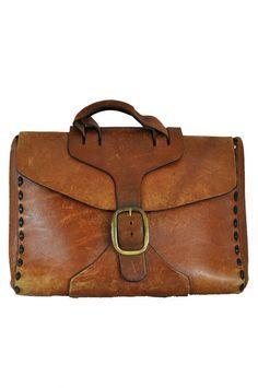 goodbye heart vintage: Vintage Custom Made Leather Satchel - Leather Briefcase - Bag - Portfolio