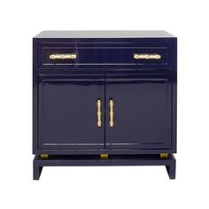 MARCUS NVY - NAVY LACQUER (1) DRAWER, 2 DOOR CABINET WITH GOLD LEAFED BAMBOO HARDWARE AND GOLD LEAFED METAL DETAIL ON BASE. DRAWER IS ON GLI...