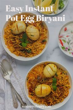 Instant Pot Egg Biryani is a must-try recipe for all egg lovers as it promises to take your love for eggs to another level altogether. #ministryofcurry #instantpot #biryani Best Dinner Recipes, Indian Food Recipes, Vegetarian Recipes, Ethnic Recipes, Cooking Recipes, Cooking Cake, Vegetarian Cooking, Cooking Tools, Curry Recipes