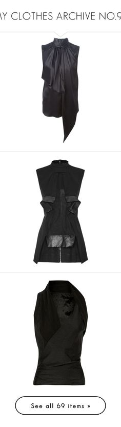 """MY CLOTHES ARCHIVE NO.96"" by eve-stardust on Polyvore featuring tops, blouses, black, pussy bow blouse, silk sleeveless top, sleeveless blouse, loose fitting tops, silk top, double layer top and rick owens top"
