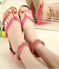 Pretty & Fashionable Chain Zipper Wedge-heeled Sandals----Red