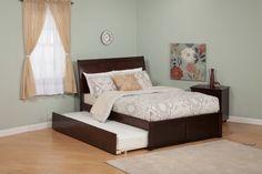 Portland Platform Bed | Flat Footboard | Urban Trundle in Espresso by Atlantic Solid Wood Bunk Beds, Wooden Platform Bed, Atlantic Furniture, Large Beds, Solid Wood Furniture, Bedding Collections, Contemporary, Modern, Portland