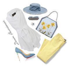 How To Wear Denim & Yellow (Top Set 3 29 16) Outfit Idea 2017 - Fashion Trends Ready To Wear For Plus Size, Curvy Women Over 20, 30, 40, 50