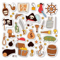Vector pirate stickers set by Vectorstockerland on Pirate Maps, Pirate Theme, Pirate Party, Stickers Pirate, Treasure Maps For Kids, Pirate Illustration, Pirate Cartoon, Pirate Crafts, Halloween Doodle