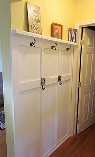 board and batten makeshift mudroom  this simple project makes such a great design impact! :)
