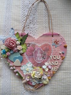 An altered wooden heart (Edith's creative pieces and bits)