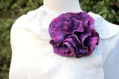 Felted Flower Brooch  large purple pink. $27.00, via Etsy.