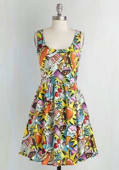 Good Enough to Eat Dress - Multi, Novelty Print, Print, Pockets, Casual, Cotton, Best Seller, Fit & Flare, Quirky, Scoop, Woven, 90s, Gals, Full-Size Run, Food, Sleeveless, Variation, Mid-length, Better, Top Rated