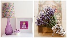 Details in the girls' bedroom                                                   {the lavender photo on the right belongs to www.projectwedding.com}